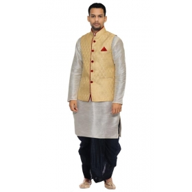 Amg Men's Silk Dark Gold Waiscoat, Silver Kurta Black Dhoti Set_amg-2385