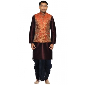 Amg Men's Silk Gold Waiscoat,dark Blue Kurta,gold Dhoti Set_amg-2323