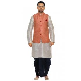 Amg Men's Silk Pink Waiscoat,gray Kurta Navy Blue Dhoti Set_amg-2388
