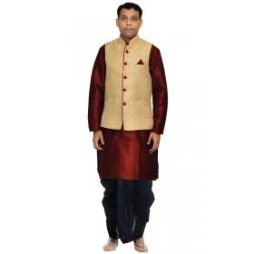 Amg Men's Silk Dark Gold Waiscoat,red Kurta, Black Dhoti Set_amg-2392