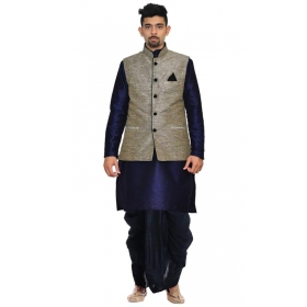 Amg Men's Silk Black Waiscoat,dark Blue Kurta Black Dhoti Set_amg-2399