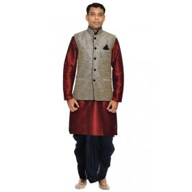 Amg Men's Silk Black Waiscoat,red Kurta,black Dhoti Set_amg-2403