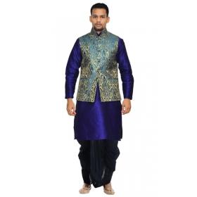 Amg Men's Silk  Green Gold Waiscoat,royel Blue Kurta, Black Dhoti Set_amg-2404