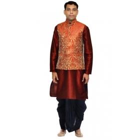 Amg Men's Silk Red Gold Waiscoat,red Kurta,black Dhoti Set_amg-2414
