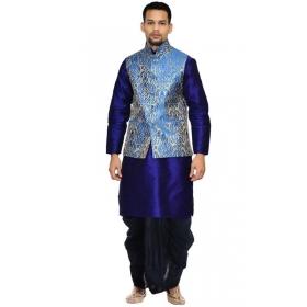 Amg Men's Silk Royal Blue Waiscoat,blue Kurta,black Dhoti Set_amg-2419
