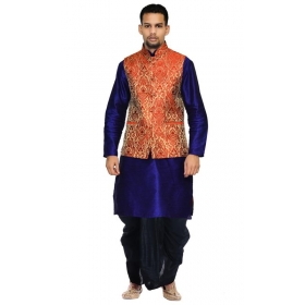 Amg Men's Silk Red Gold Waiscoat,royel Blue Kurta,black Dhoti Set_amg-2421