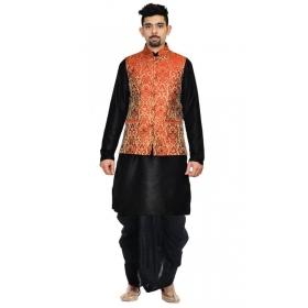 Amg Men's Silk Red Gold Waiscoat,black Kurta Dhoti Set_amg-2426