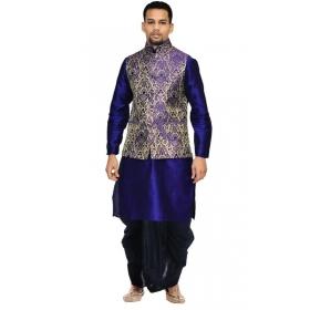 Amg Men's Silk Blue Waiscoat,royal Blue Kurta,black Dhoti Set_amg-2427