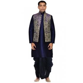 Amg Men's Silk Blue Waiscoat,dark Blue Kurta,black Dhoti Set_amg-2438