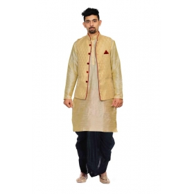 Amg Men's Silk Dark Gold Waiscoat,multidupion Kurta,black Set_amg-2442