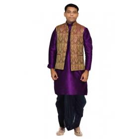 Amg Men's Silk Voilet Gold Waiscoat,purple Kurta,black Dhoti Set_amg-2444