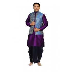 Amg Men's Silk Royal Blue Waiscoat,purple Kurta,black Dhoti Set_amg-2446