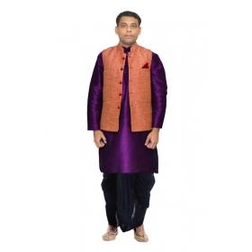 73b47141da84 Amg Men's Silk Pink Waiscoat,purple Kurta,navy Dhoti Set_amg-2449