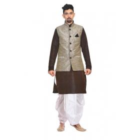 Amg Men's Silk Black Gold Waiscoat,brown Kurta,white Dhoti Set_amg-2461