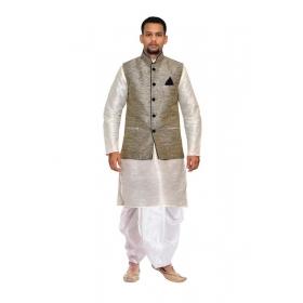Amg Men's Silk Black Waiscoat,gray Kurta,off White Dhoti Set_amg-2465