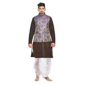 Amg Men's Silk Blue Waiscoat,brown Kurta,white Dhoti Set_amg-2470