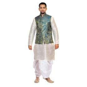 Amg Men's Silk Green Gold Gold Waiscoat,gray Kurta,white Dhoti Set_amg-2471