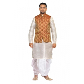 Amg Men's Silk  Maroon Gold Waiscoat,gray Kurta,white Dhoti Set_amg-2472