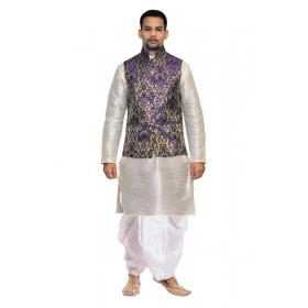Amg Men's Silk Blue Waiscoat,gray Kurta,off White Dhoti Set_amg-2473