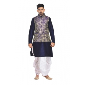 Amg Men's Silk Blue Gold Waiscoat,blue Kurta,black Dhoti Set_amg-2475