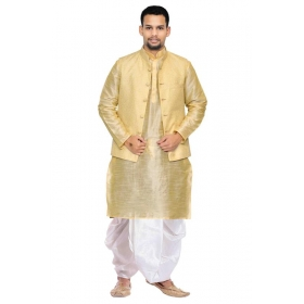 Amg Men's Silk Gold Waiscoat,multi Dupin Kurta,white Dhoti Set_amg-2478