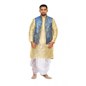 Amg Men's Silk Royal Blue Waiscoat,gold Kurta,white Dhoti Set_amg-2486