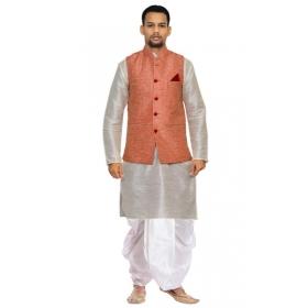 Amg Men's Silk Pink Waiscoat,gray Kurta,white Dhoti Set_amg-2493