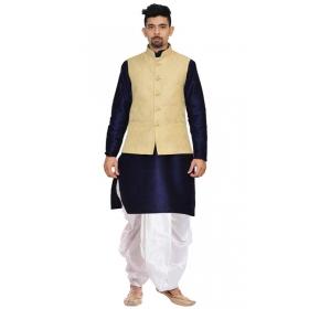 Amg Men's Silk Cream Waiscoat,navy Bluekurta,off White Dhoti Set_amg-2497