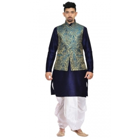 Amg Men's Silk Green Gold Waiscoat,d Blue Kurta,white Dhoti Set_amg-2498