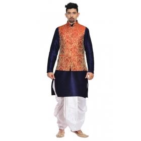 Amg Men's Silk Red Gold Waiscoat,d.blue Kurta,white Dhoti Set_amg-2499