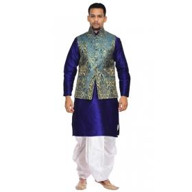 Amg Men's Silk Green Gold Waiscoat,royel Blue Kurta,white Dhoti Set_amg-2504