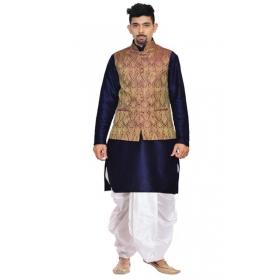 Amg Men's Silk Voilet Gold Waiscoat,navy Blue Kurta,white Dhoti Set_amg-2505