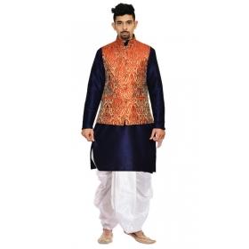 Amg Men's Silk Red Gold Waiscoat,navy Blue Kurta,white Dhoti Set_amg-2507
