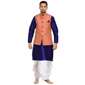 Amg Men's Silk Pink Waiscoat,royel Blue Kurta,white Dhoti Set_amg-2508