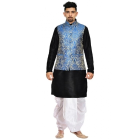 Amg Men's Silk Royal Blue Gold Waiscoat,black Kurta,white Dhoti Set_amg-2516