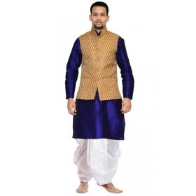 Amg Men's Silk Coper Gold Waiscoat,blue Kurta,white Dhoti Set_amg-2517