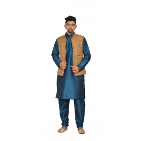 Amg Men's Silk  Copper Gold Waiscoat,green Kurta,green Pajama Set_amg-3001