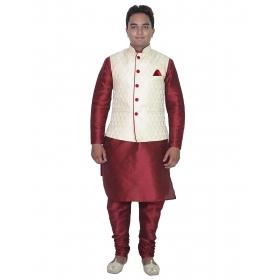 Amg Men's Silk Creem Waiscoat,maroon Kurta,maroon Pajama Set_amg-3010