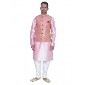 Amg Men's Silk Pink Waiscoat,pink Kurta,white Pajama Set_amg-3014