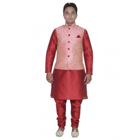 Amg Men's Silk Pink Waiscoat,red Kurta,red Pajama Set_amg-3015