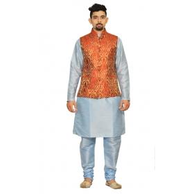 Amg Men's Silk Red Gold Waiscoat,sky Blue Kurta,sky Blue Pajama Set_amg-3017