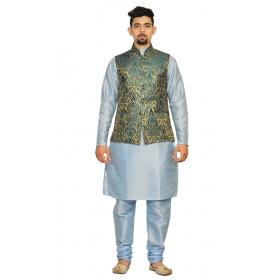 Amg Men's Silk Green Gold Waiscoat,sky Blue Kurta,sky Blue Pajama Set_amg-3020