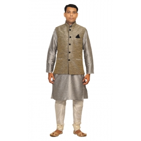 Amg Men's Silk Black Waiscoat,gray Kurta,off White Pajama Set_amg-3021