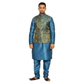 Amg Men's Silk Green Gold Waiscoat,third Blue Kurta,third Blue Pajama Set_amg-3023
