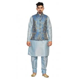 Amg Men's Silk Royel Blue Gold Waiscoat,sky Blue Kurta,sky Blue Pajama Set_amg-3025