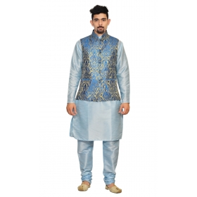 Amg Men's Silk Royel Blue Gold Waiscoat,sky Blue Kurta,sky Blue Pajama Set_amg-3025