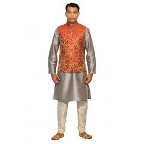 Amg Men's Silk Red Gold Waiscoat,gray Kurta,white Pajama Set_amg-3026