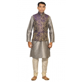Amg Men's Silk Blue Gold Waiscoat,gray Kurta,off White Pajama Set_amg-3033