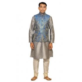 Amg Men's Silk Royel Blue Gold Waiscoat,gray Kurta,off White Pajama Set_amg-3035