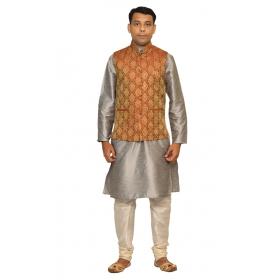 Amg Men's Silk Red Gold Waiscoat,gray Kurta,off White Pajama Set_amg-3037